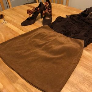 Express Brown Faux Suede Miniskirt